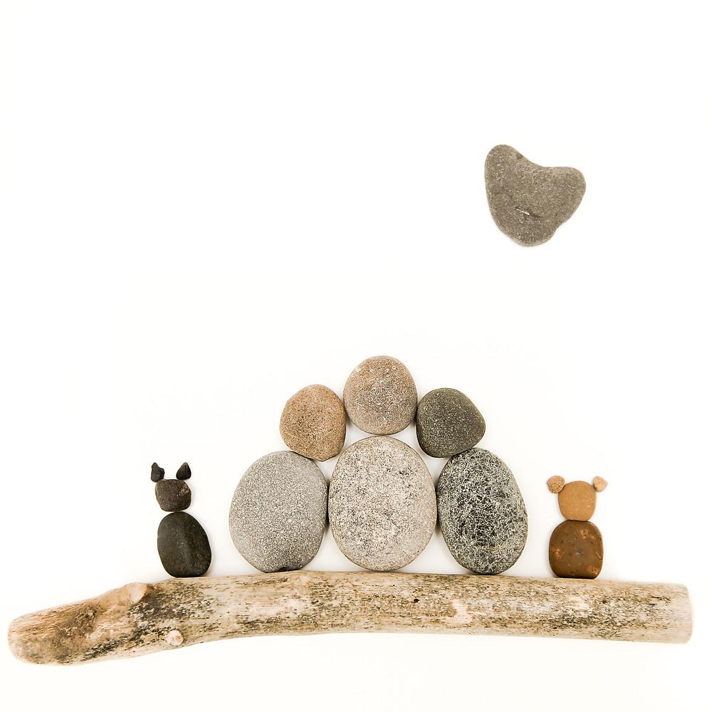 Family Portrait, pebble art