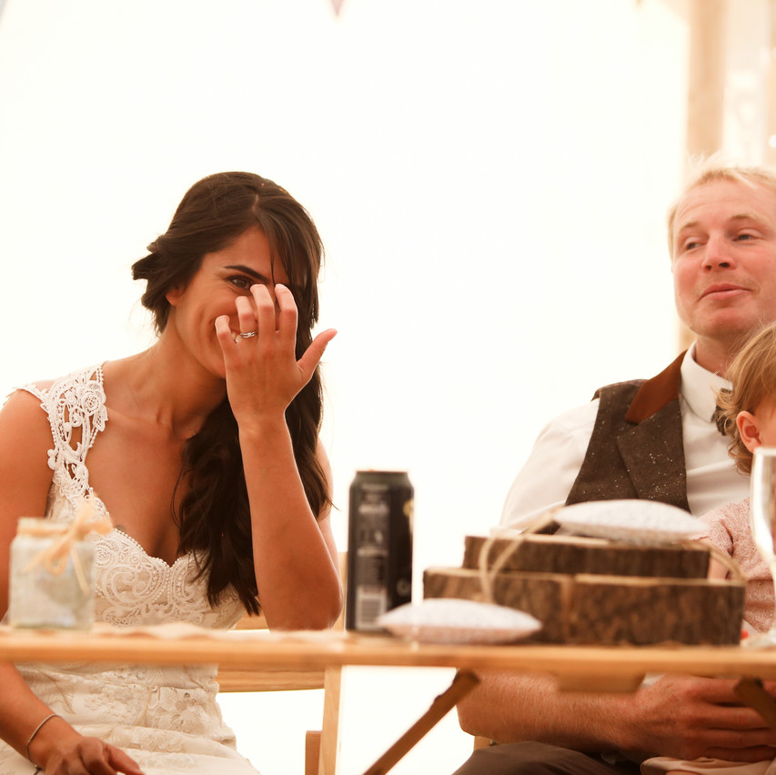 A giggling bride.