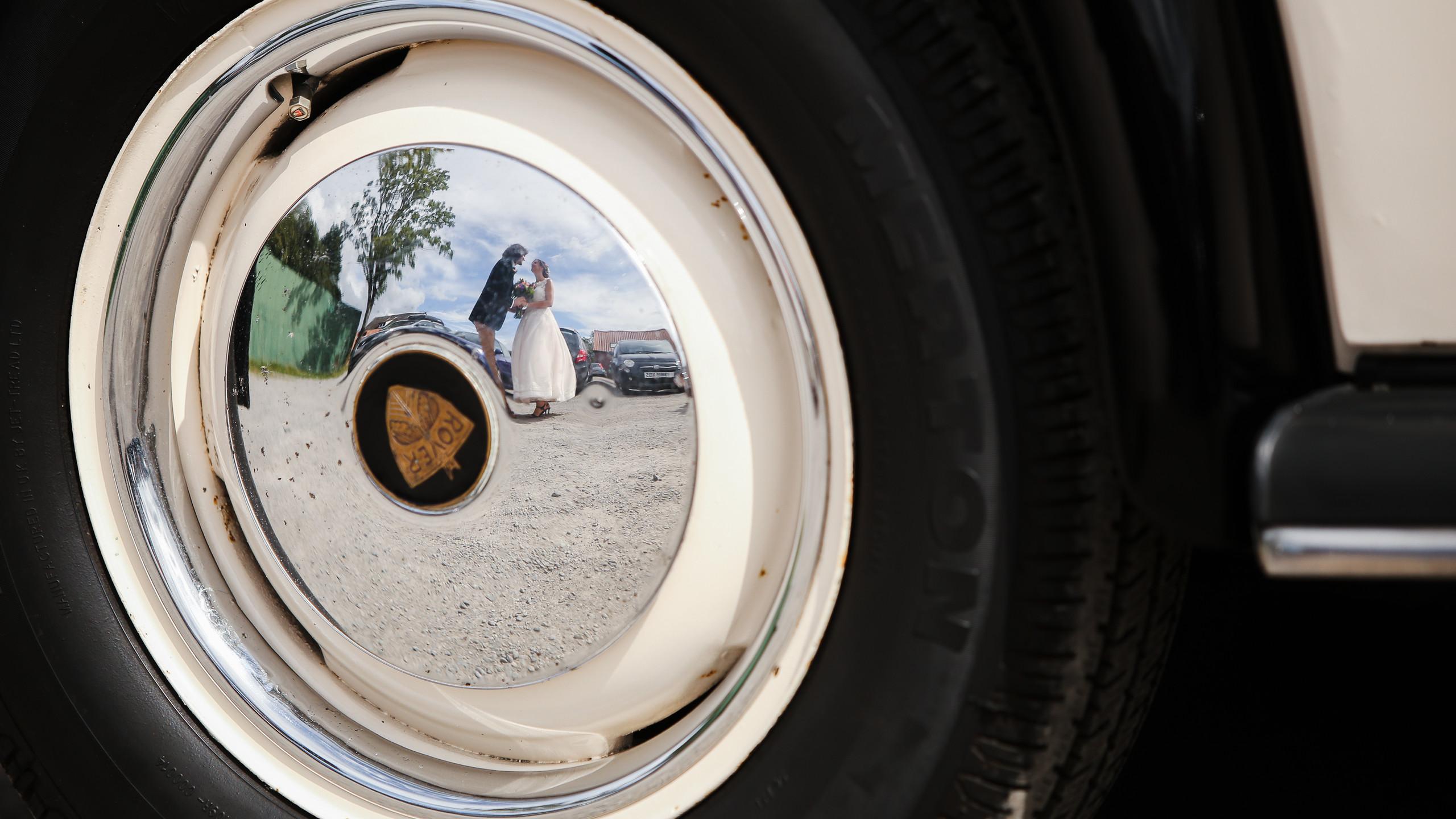 Reflection in Rover wheel cap