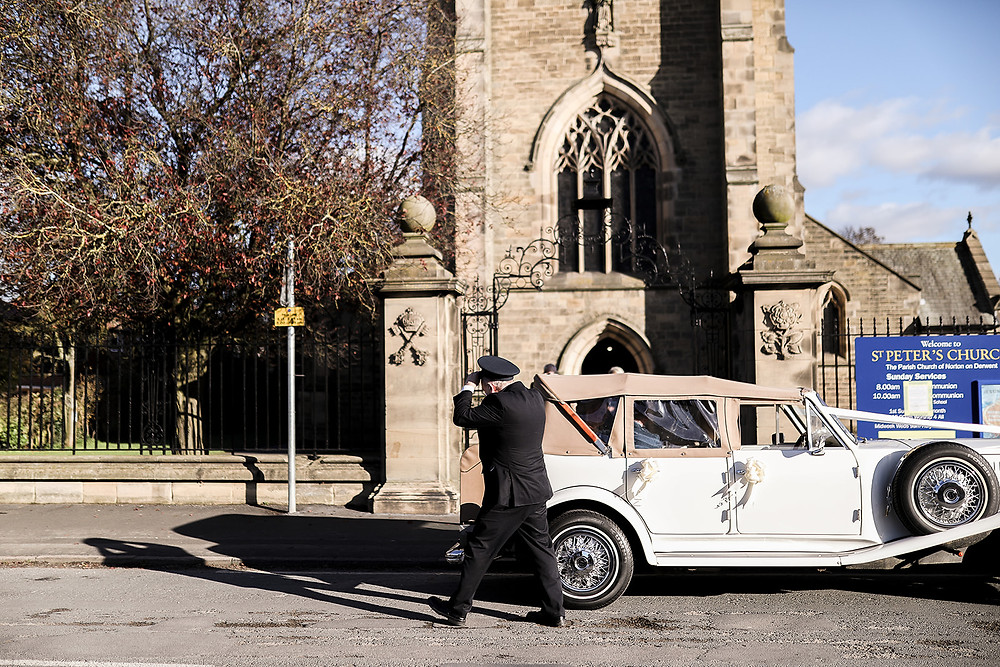 Arriving at the church, delivered safely by Howard.