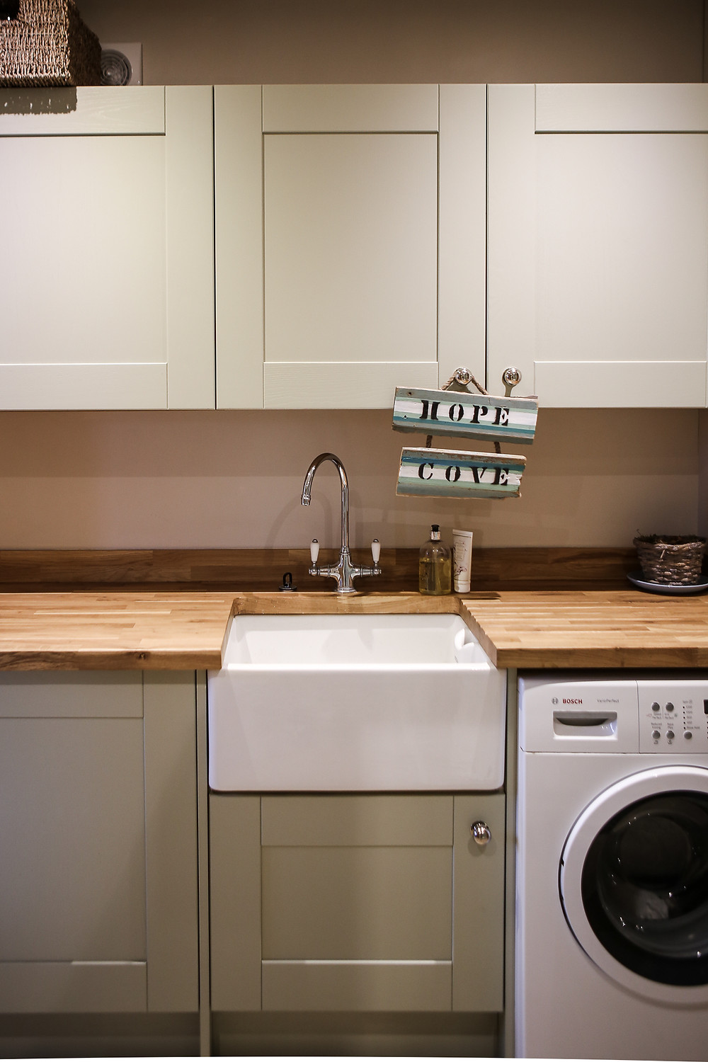 Utility area with Belfast sink.