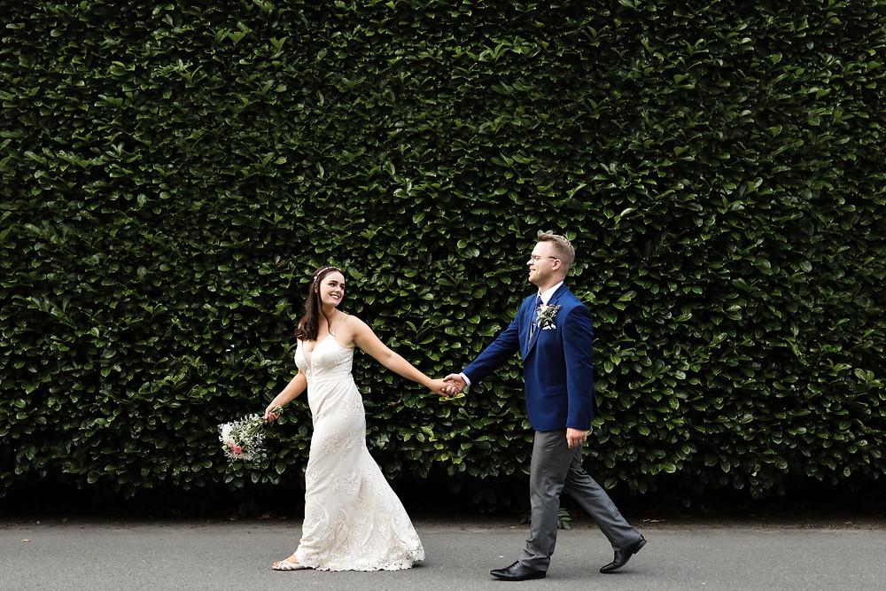 Bride and Groom walking, Grassington