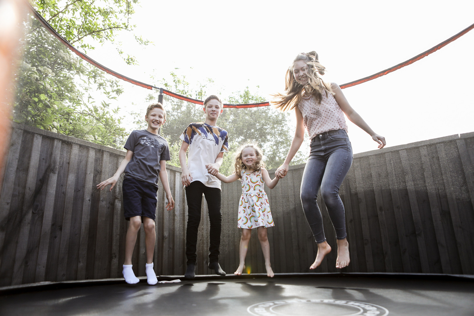 Fun in the garden on a trampoline or doing soemthing they enjoy to get them all involved.