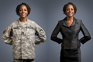 woman in uniform and suit Source: HireTheVet.com