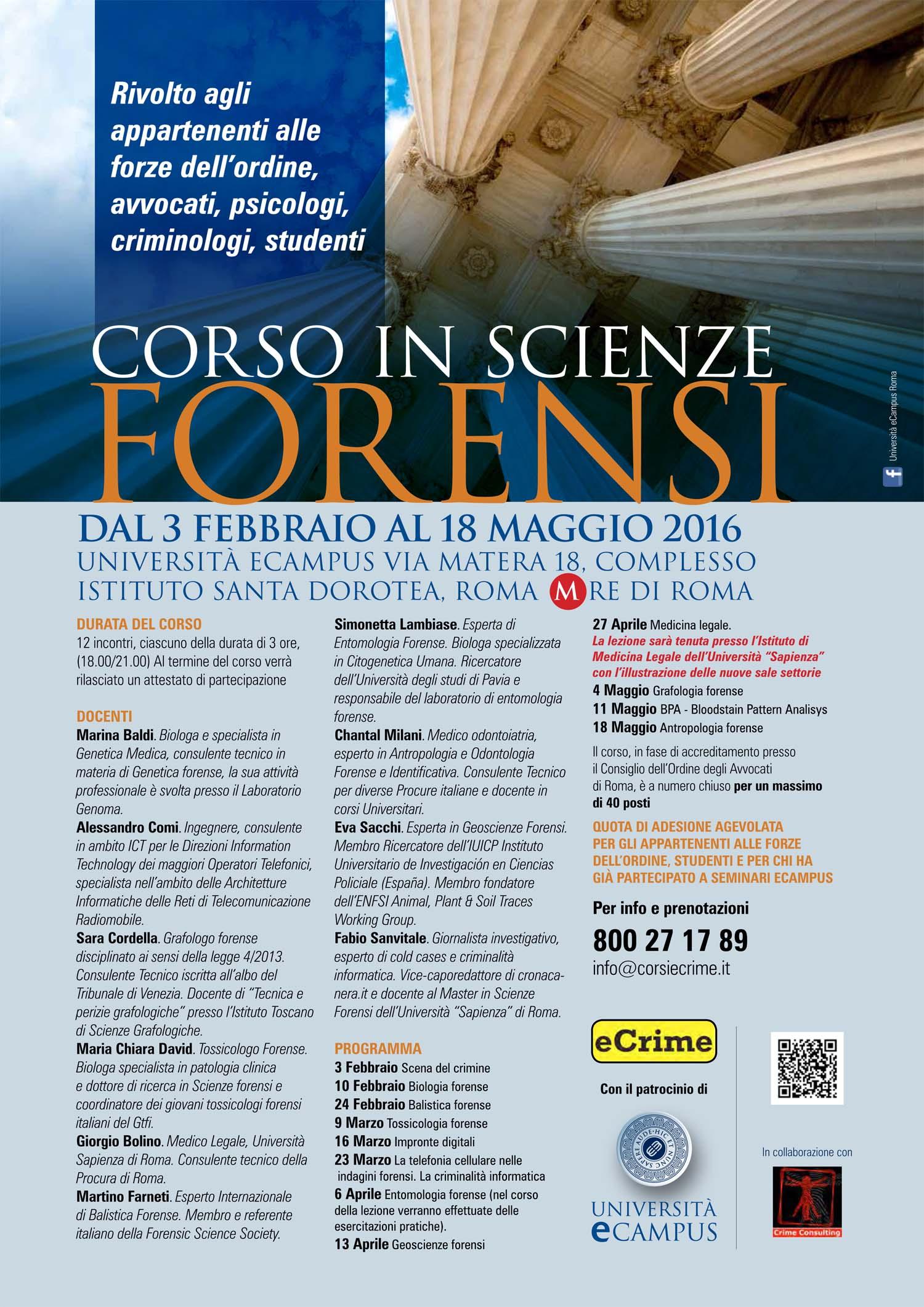 Corso in scienze Forensi 2016