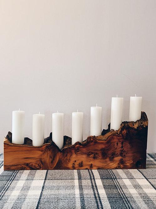 Waney Edge Yew Candle Stick Holder
