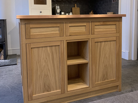 Oak Kitchen Island with Copper Surface for a private client (North Yorkshire)
