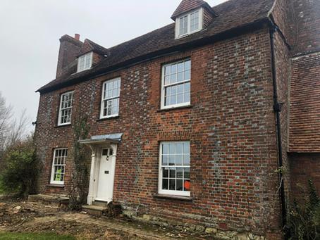 Sash & Box Windows for a Grade II listed farmhouse. (Surrey).