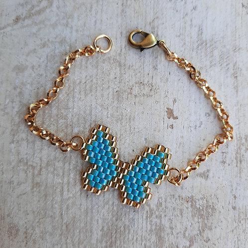 , צמיד פרפר כחול ייחודי בעבודת יד, יכול לשמש גם כצמיד רגל