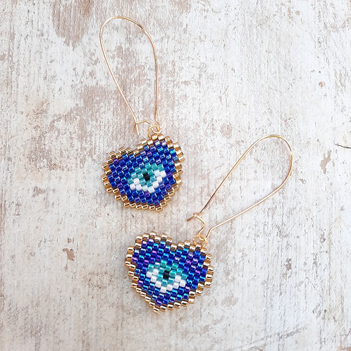 עגילי לב עין כחול נגד עין הרע - אופנה ישראלית בעבודת יד