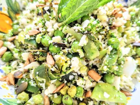 Cauliflower Broccoli Rice with Peas, Mint and Lemon & Crunchy Toasted Tamari Seeds