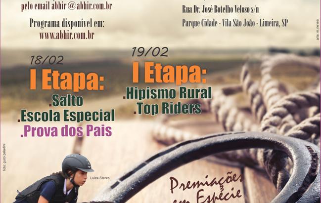 1ª Etapa ABHIR de Salto, Hipismo Rural e Top Rider ABHIR em Limeira, SP (18 e 19/02)