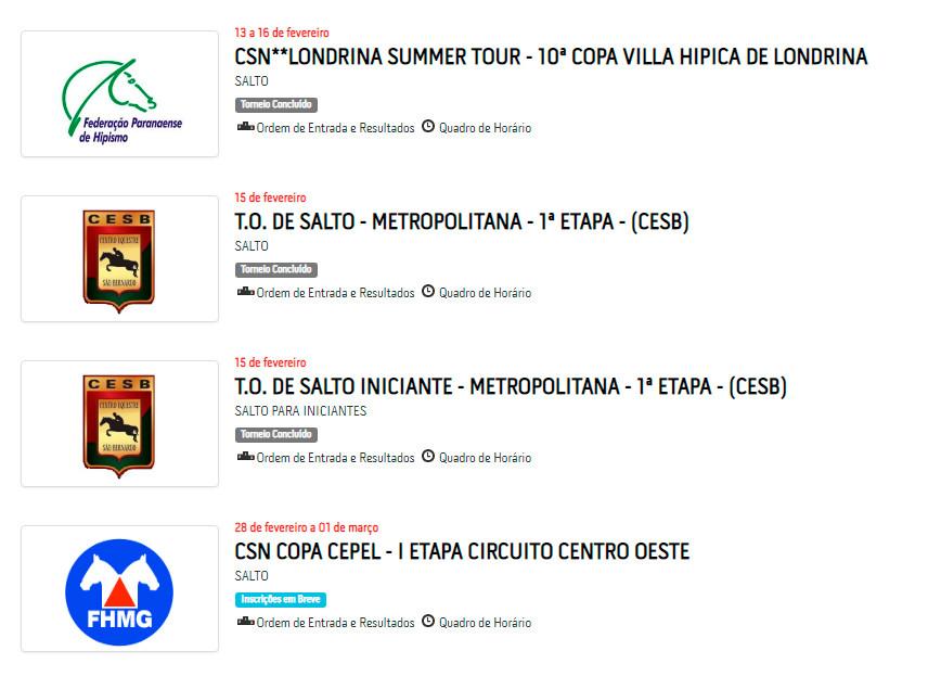 Eventos do calendário da Federação Paulista de Hipismo