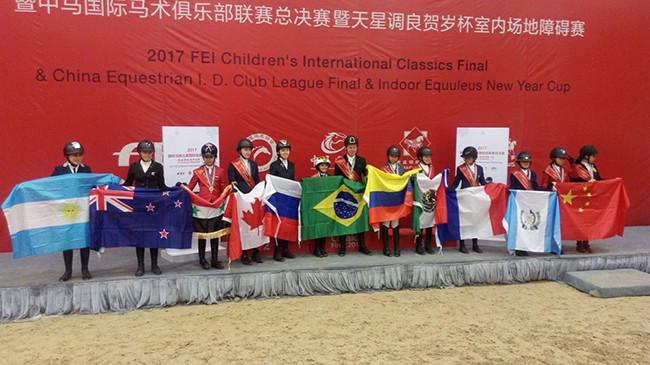 Finalistas top 10 no FEI Children 2017 com domínio verde amarelo