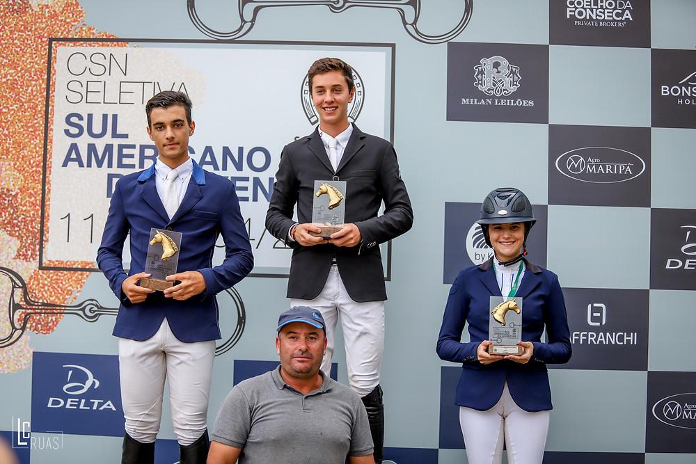 Pedro Egoroff, Raphael Mari e Sophia Barrozo: vencedores Junior