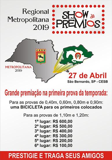Etapa Regional Metropolitana acontece no  Centro Hípico São Bernardo, em 27/4