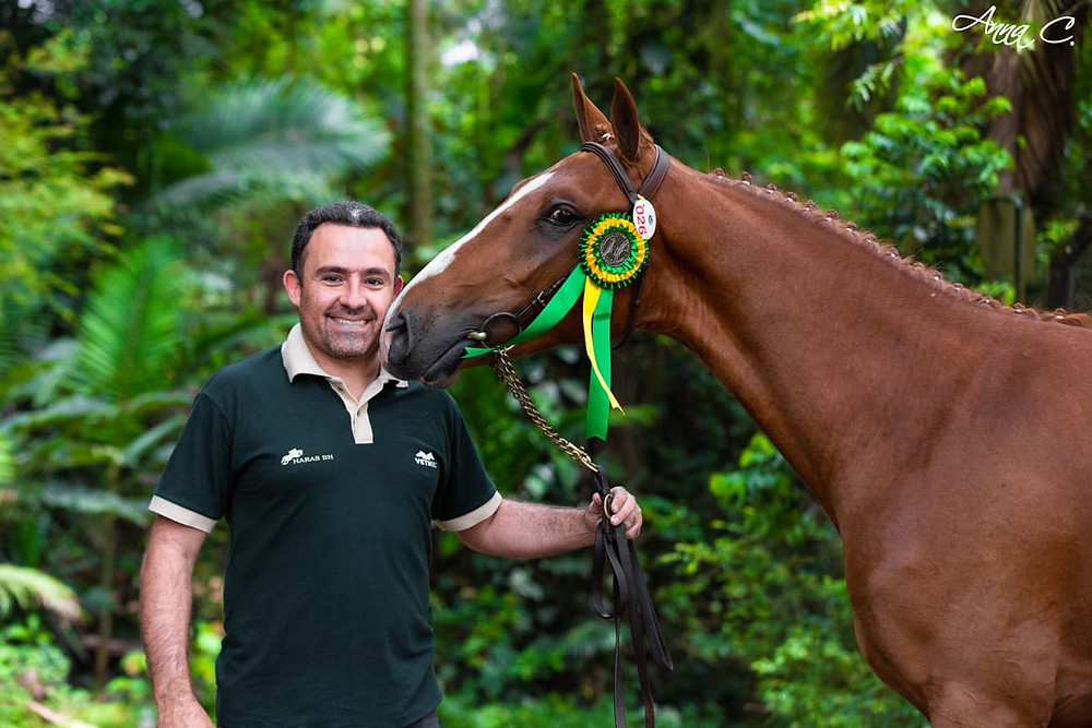 Bruno Ribeiro, vice-presidente da Vetnil e o campeão Nacional de Brasileiro de Hipismo 2020, Quabriolet JCR
