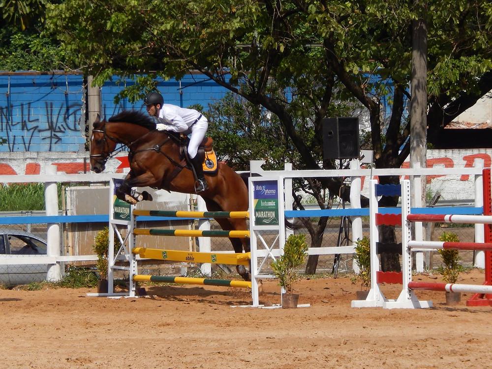 Luiz Felipe Silveira e Jus-de-Pomme TW da Figueira (foto Marcia Duarte) conquistou sua primeira vitória na prova mais forte do evento, Nível IV 1,20m.