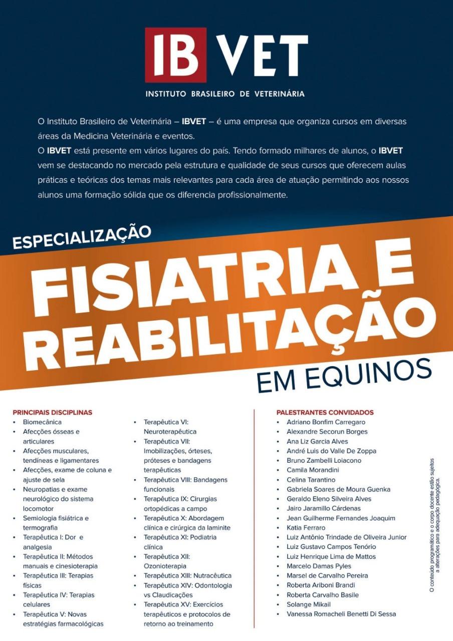 ESPECIALIZAÇÃO EM FISIATRIA E REABILITAÇÃO DE EQUINOS