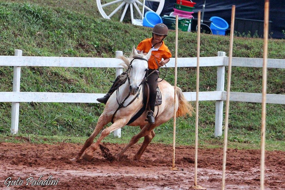 O jovem cavaleiro João Brasileiro e Joia, executando baliza na categoria Mini Mirim