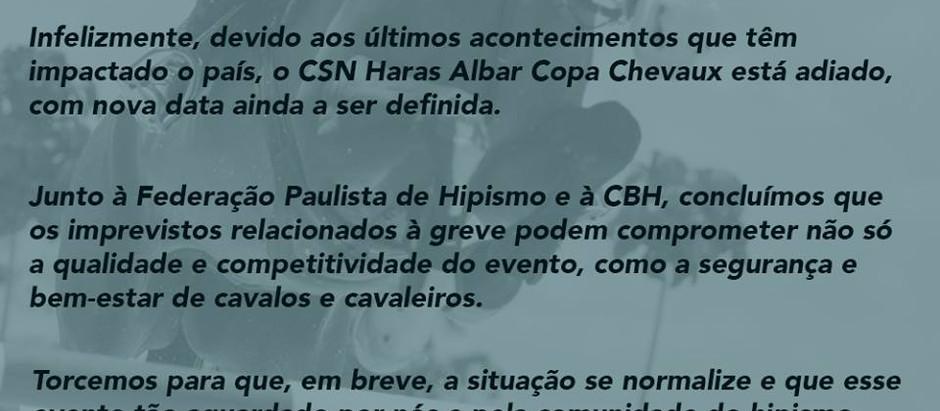 Comunicado Urgente: Adiamento do CSN Haras Albar - IV Etapa Seletiva Sul-Americano