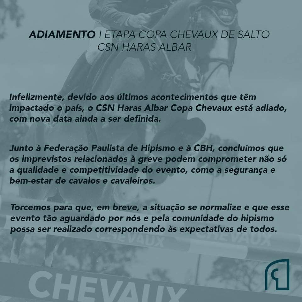 Adiamento do CSN Haras Albar - IV Etapa Seletiva Sul-Americano - Campinas (SP).