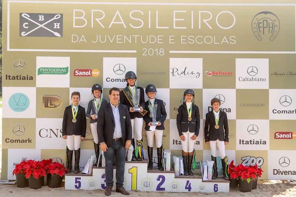 Vencedores da categoria pré-mirim com Ronaldo Bittencourt Fº, presidente CBH (Luis Ruas)
