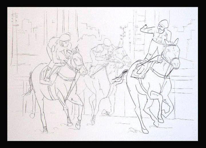 Cavalos e esportes na arte com arame