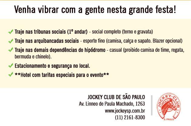 """Neste domingo, 1º de maio, você poderá acompanhar e curtir de perto os melhores cavalos de corrida em disputas emocionantes. A festa acontece a partir das 13h, à frente de uma das paisagens mais privilegiadas da capital paulista. Serão 10 páreos, mas - de acordo com a tradição - a aguardada """"cereja do bolo"""" é o 7º páreo, que acontece às 17h10. Trata-se da prova internacional """"Grande Prêmio São Paulo"""" que, inclusive, dá nome ao evento e promete muita emoção com 16 cavalos disputando cada palmo dos 2.400 metros da pista de grama. Para se ter ideia da velocidade que cada puro sangue inglês pode atingir, o recorde desta prova aconteceu em 21/05/2006, por """"Dono da Raia"""", fazendo 2:24.490 (o recorde da pista foi batido por Quick Road, em 05/07/2008, com 2:24.060)."""