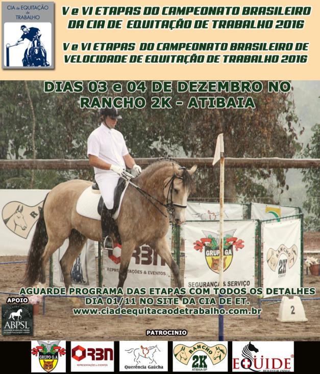 Etapas V e VI do Campeonato Brasileiro e do Campeonato Brasileiro de Velocidade de Equitação de Trabalho acontecem sequencialmente nos próximos dias 03 e 04/12/2016.