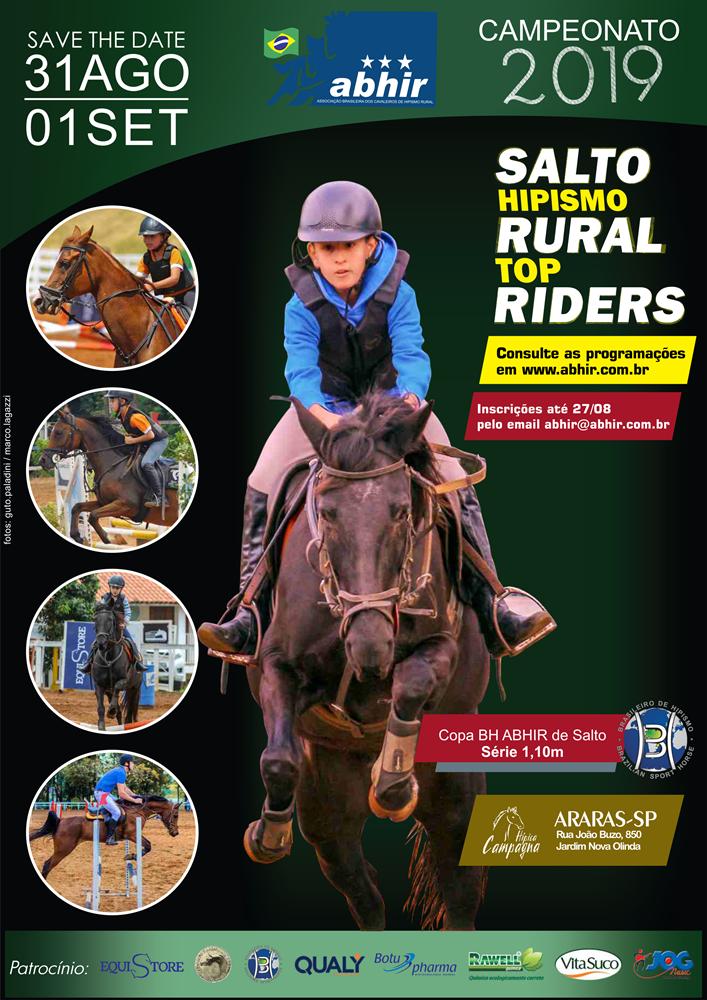 Hípica Campagna - 31 de agosto e 1º de setembro - Araras/SP  Provas ABHIR de Salto, Hipismo Rural e Top Riders