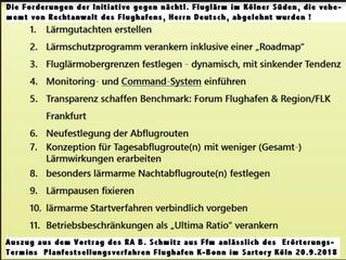 Forderungen unserer Initiative gegen den Köln/Bonner Flughafen, die vehement vom RA des Flughafens,