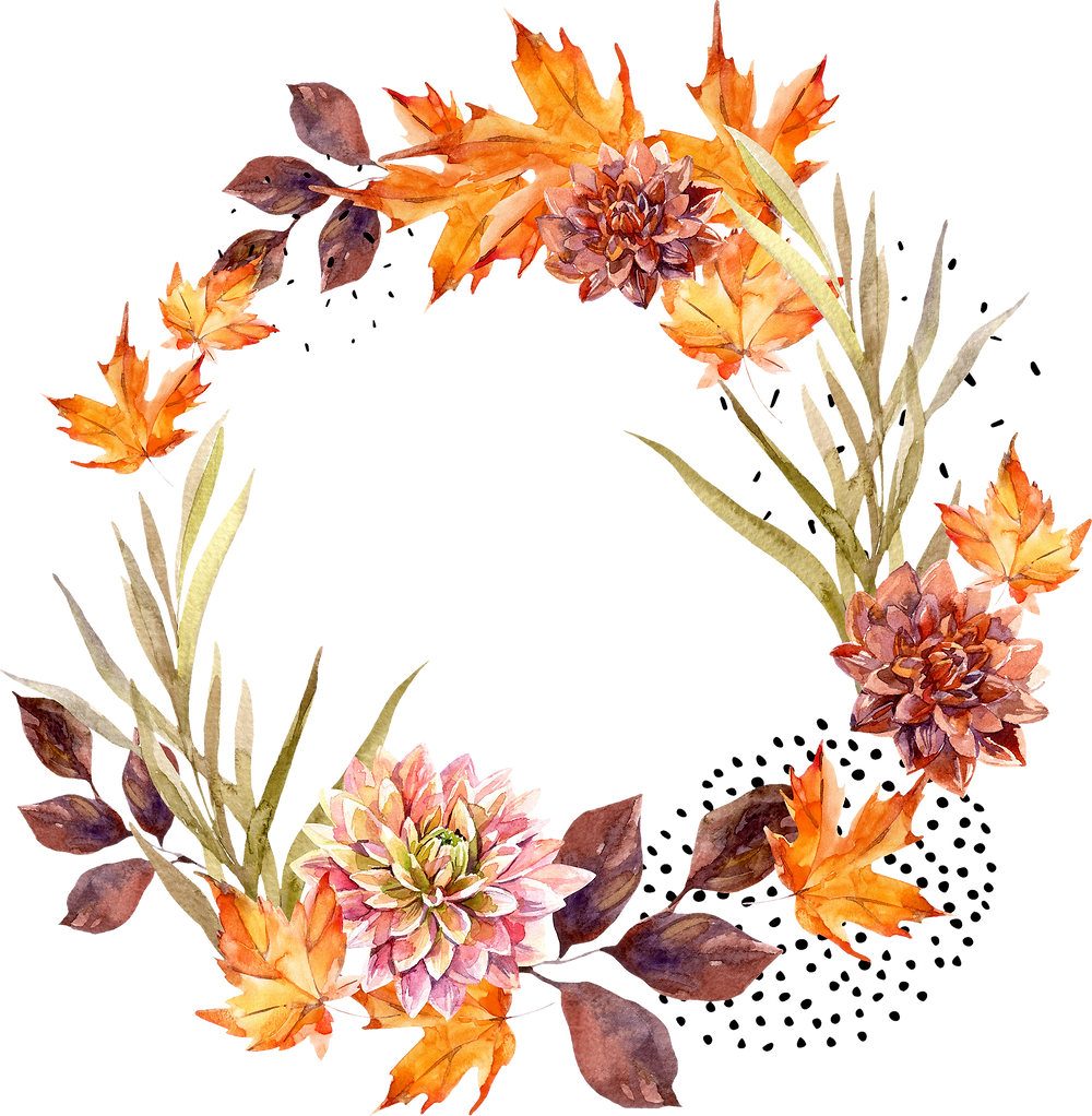 a wreath of autumnal flowers and leaves