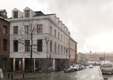 Exterior render. Urban building integrat