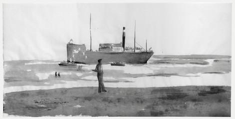Jewish refugee ship Parita beached at Tel-Aviv, 1939