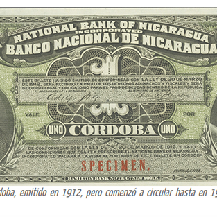 Primer billete de un córdoba emitido en 1912