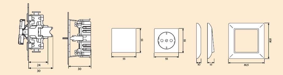 Схем стоеия и размеры элетроустановочных устройств ECO Profi