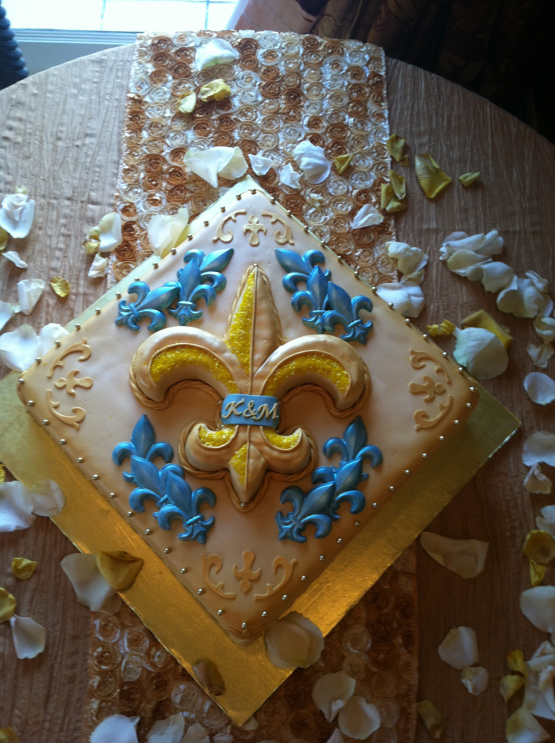 blue and gold fleur de lis