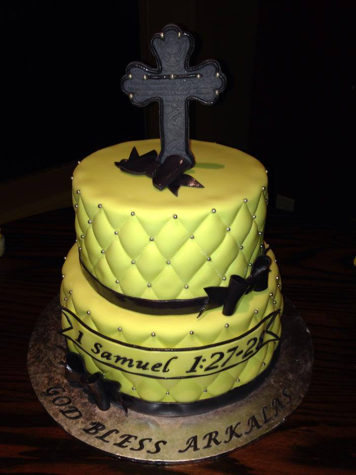 gray and yellow christening cake