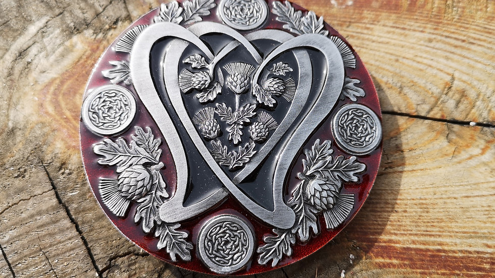 Celtic Buckle Red Enamel  and Thistles