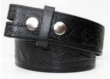 Black Leather Belt with embossed Eagle  (BE003)