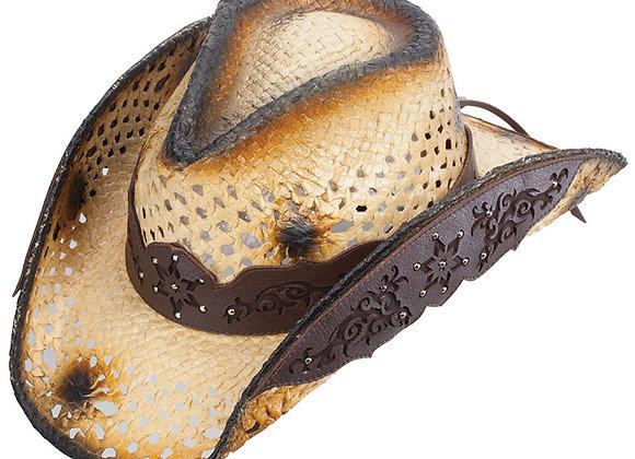 Straw & Faux leather Cowboy Hat (BF2)
