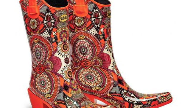Talolo Aztec Funk Orange Cowgirl   Wellies