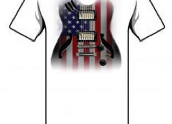 Flag Guitar White       USA01