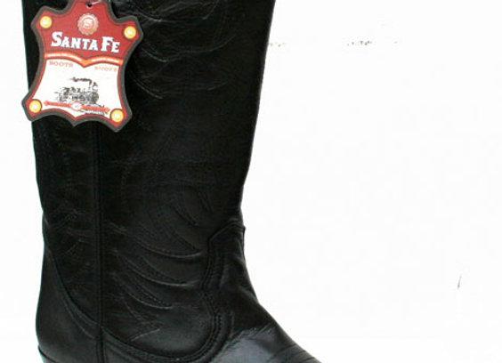 Leather Santa fe Cowboy boots Dakato Black DR011