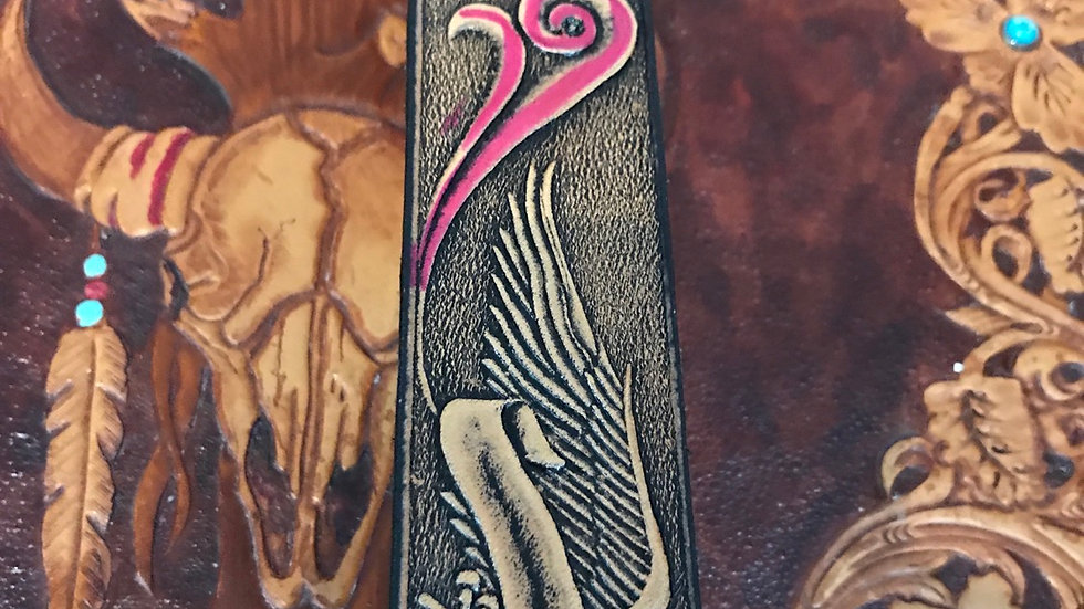 Painted Eagle leather snap belt (BE013)