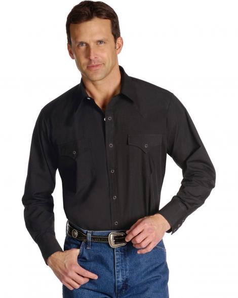 Ely Long Sleeved Black Western Shirt   E40