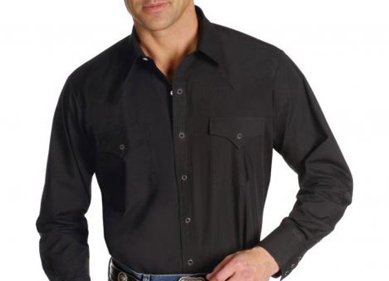 Ely Long Sleeved Black Western Shirt   E40