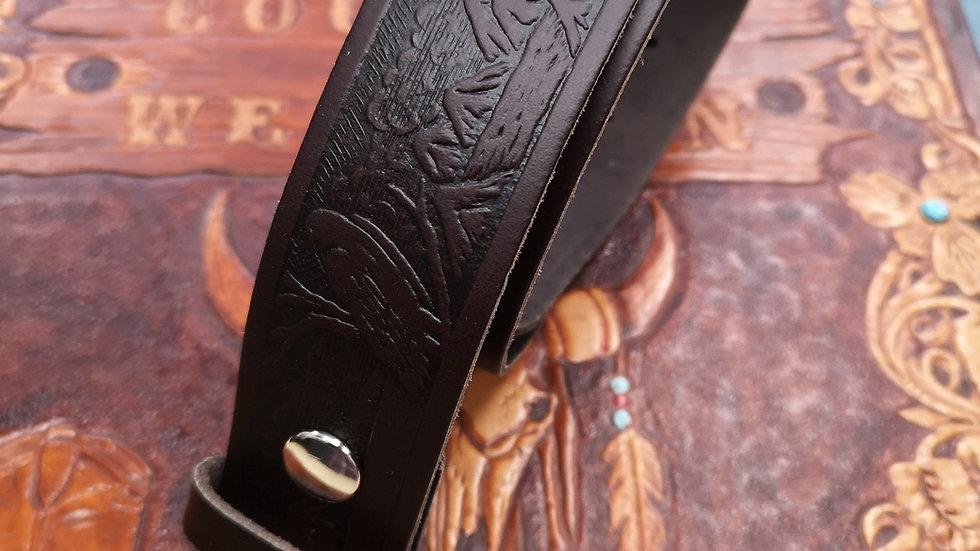 Dark Brown Leather Eagle Embossed Belt