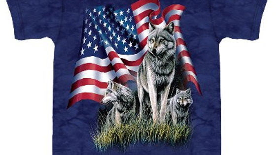 Wolf Flag USA T-Shirt by The Mountain